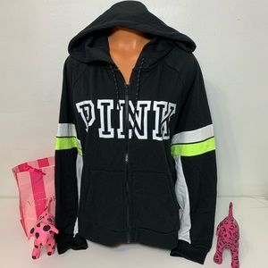PINK VS LOGO FULL ZIP HOODED SWEATSHIRT COLORBLOCK